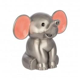 Fortinnet sparebøsse elefant med lyserød ører